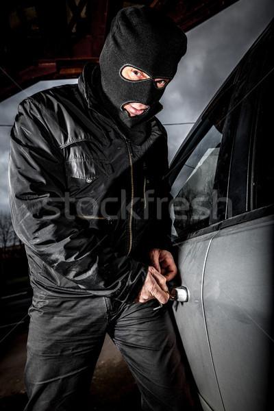Stockfoto: Auto · dief · masker · rover · deur · mannen