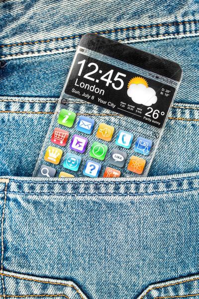 Transparente tela bolso jeans futurista Foto stock © cookelma