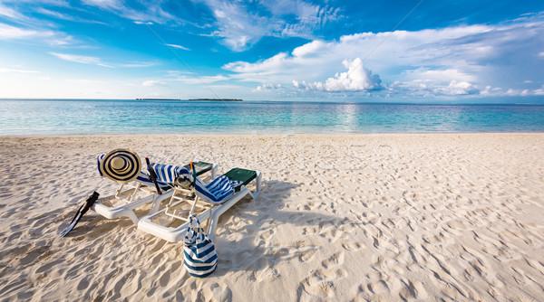 Maldives plage tropicales eau paysage vert Photo stock © cookelma