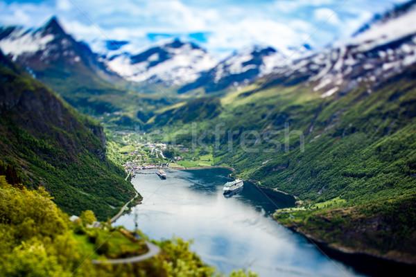Geiranger fjord, Norway (tilt shift lens). Stock photo © cookelma