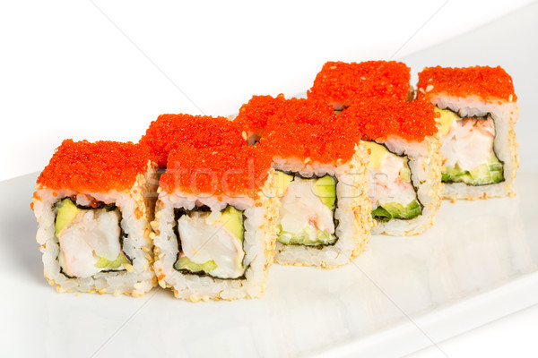 Japanese Cuisine - Sushi (California Roll) on a white background Stock photo © cookelma