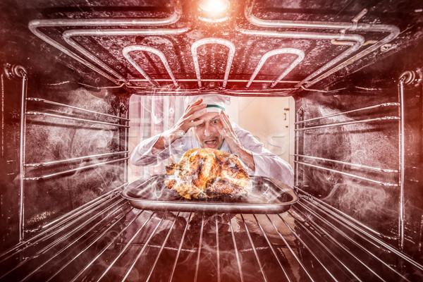 Engraçado chef zangado perdedor destino Foto stock © cookelma
