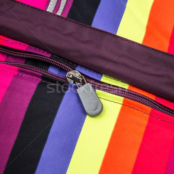 Közelkép cipzár színes terv szövet ruha Stock fotó © cookelma