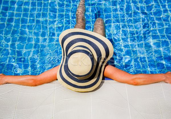 女性 麦わら帽子 リラックス スイミングプール ボトム パーフェクト ストックフォト © cookelma