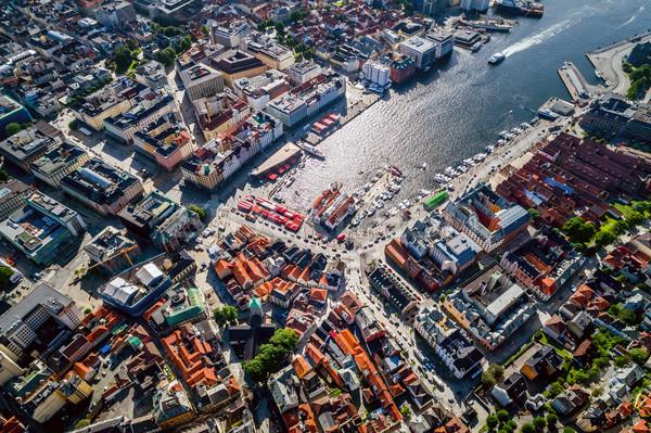 Stad west kust Noorwegen hoogte Stockfoto © cookelma