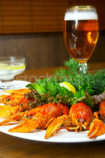 Crayfishs with beer on a table at restaurant  Stock photo © cookelma