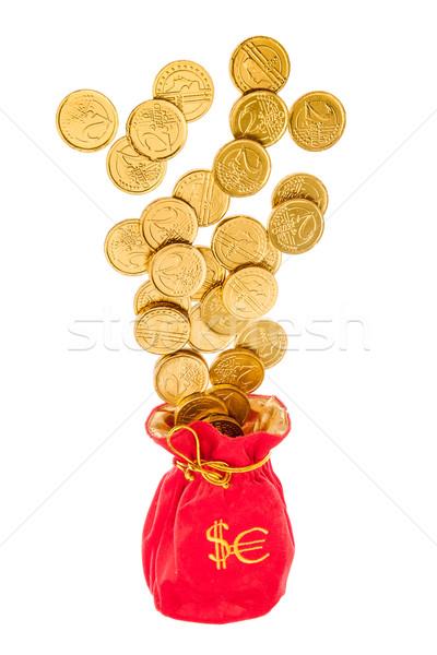 Zdjęcia stock: Worek · euro · dolarów · monet · biały · działalności