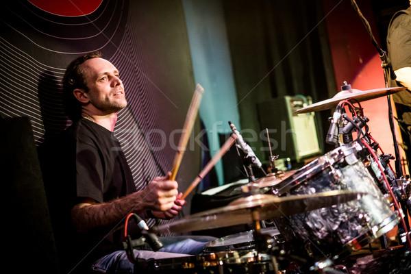 Giocare tamburi musicista fase concerto Foto d'archivio © cookelma