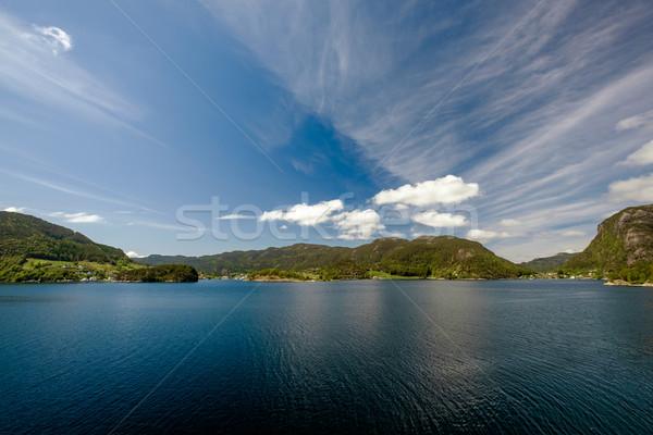 Gyönyörű természet Norvégia természetes tájkép égbolt Stock fotó © cookelma
