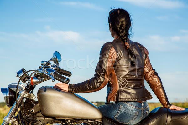 девушки мотоцикл Sexy моде Сток-фото © cookelma