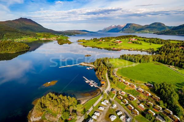 Hermosa naturaleza Noruega campamento relajarse Foto stock © cookelma
