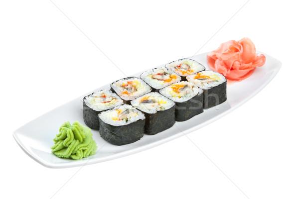 Sushi (Roll unagi maki) on a white background Stock photo © cookelma