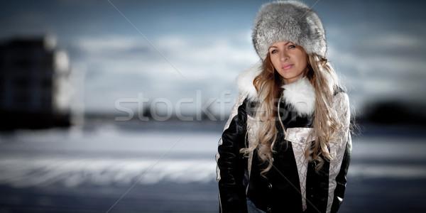 портрет девушки зима красивая девушка лице красоту Сток-фото © cookelma