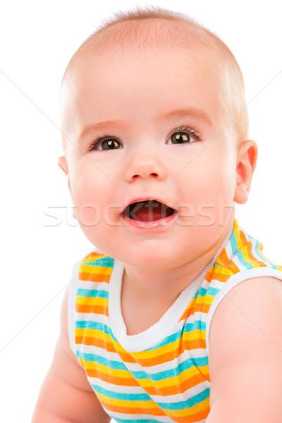 Сток-фото: счастливым · мало · ребенка · изолированный · белый · улыбка