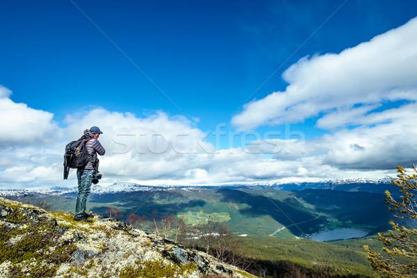 Doğa fotoğrafçı turist kamera ayakta üst Stok fotoğraf © cookelma