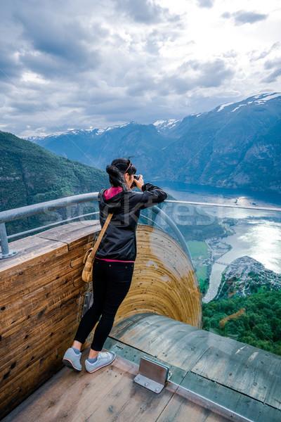 Nature photographer. Stegastein Lookout. Stock photo © cookelma