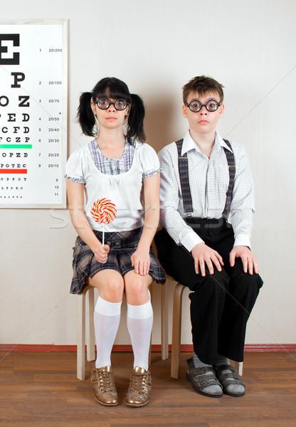 Iki kişi gözlük ofis doktor kadın Stok fotoğraf © cookelma