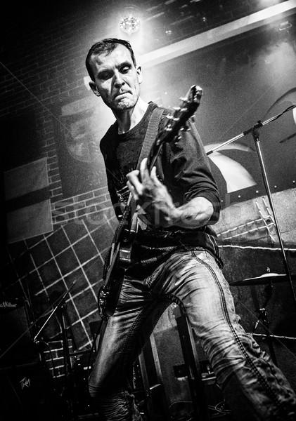 Músico guitarra etapa aviso estilizado velho Foto stock © cookelma