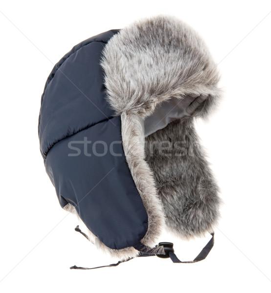 Meleg szőr sapka fehér tél hideg Stock fotó © cookelma e26271fd56