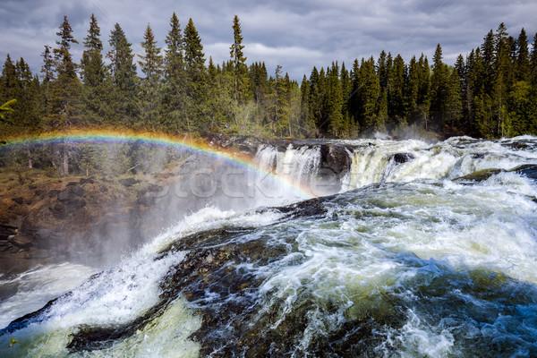 водопада западной один красивой водопад Швеция Сток-фото © cookelma