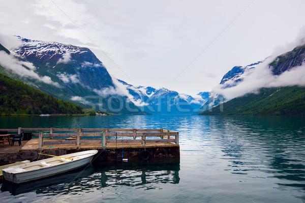 Jezioro piękna charakter Norwegia naturalnych krajobraz Zdjęcia stock © cookelma