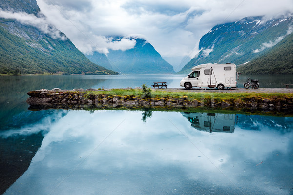Family vacation travel RV, holiday trip in motorhome Stock photo © cookelma