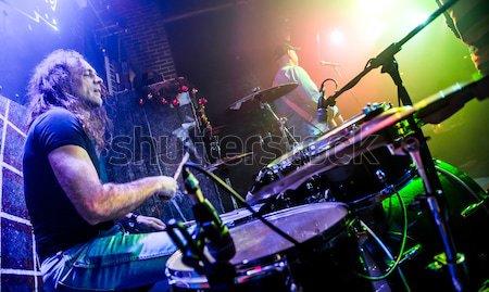 Batterista giocare tamburo set fase autentico Foto d'archivio © cookelma