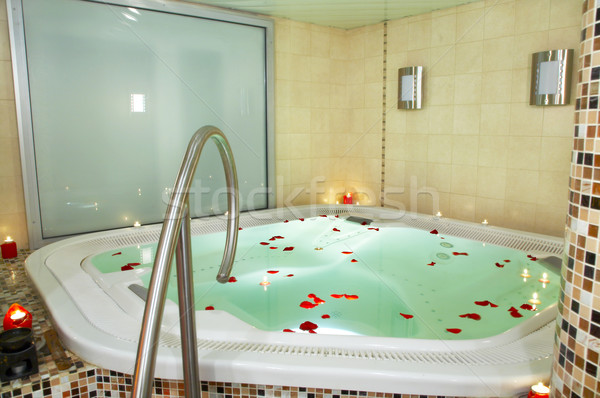 Fürdőkád jacuzzi szirmok rózsák ház rózsa Stock fotó © cookelma