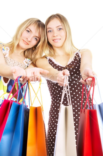Kettő lányok szatyrok összehasonlítás vásárlás vásár Stock fotó © cookelma