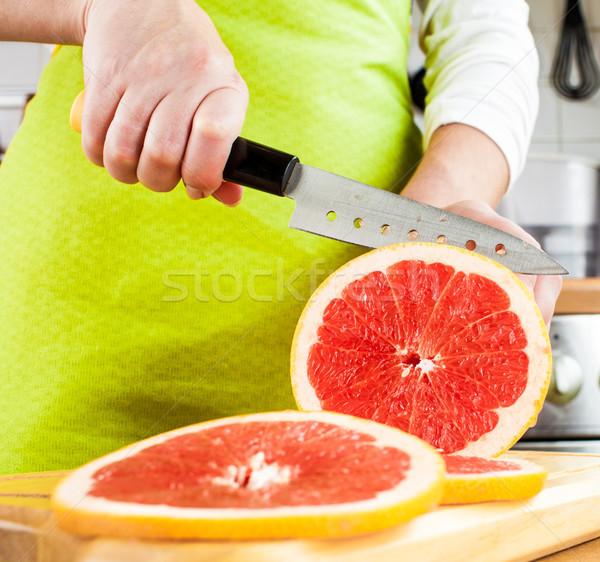 Foto stock: Manos · pomelo · frescos · cocina · frutas