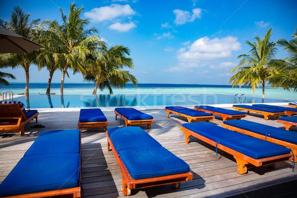 Мальдивы пляж тропические воды пейзаж зеленый Сток-фото © cookelma