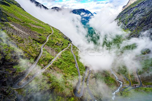 Troll's Path Trollstigen or Trollstigveien winding mountain road Stock photo © cookelma