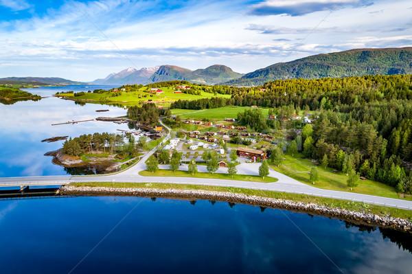 Gyönyörű természet Norvégia légifelvétel táborhely pihen Stock fotó © cookelma