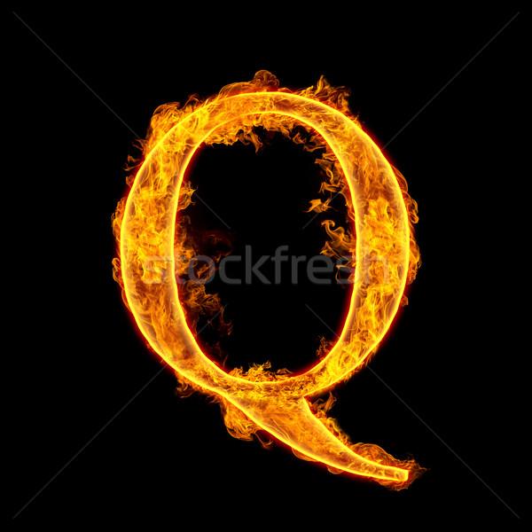 Fire alphabet letter Q Stock photo © cookelma