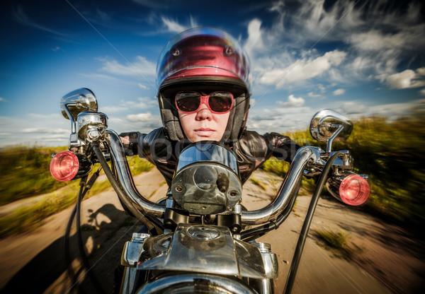 Meisje motorfiets fisheye lens grappig Stockfoto © cookelma