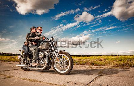 Сток-фото: девушки · мотоцикл · глядя · закат