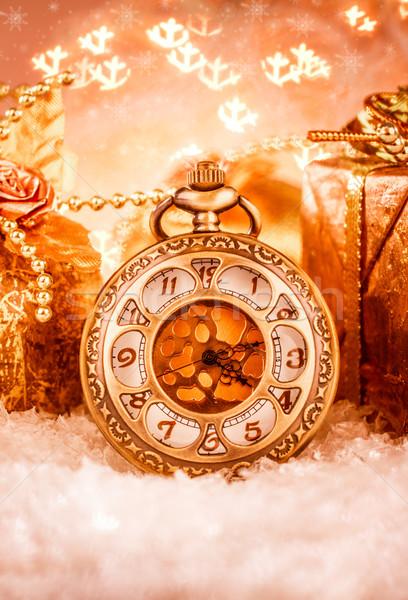 Christmas zakhorloge stilleven partij sneeuw metaal Stockfoto © cookelma