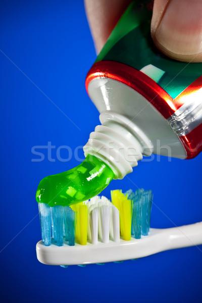 Diş macunu diş fırçası karanlık mavi yeşil tıp Stok fotoğraf © cookelma