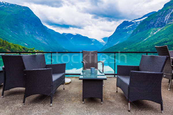 Cafe on the nature background lovatnet lake. Stock photo © cookelma