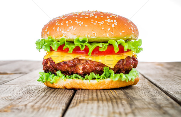 Lecker appetitlich Hamburger Cheeseburger Essen Restaurant Stock foto © cookelma