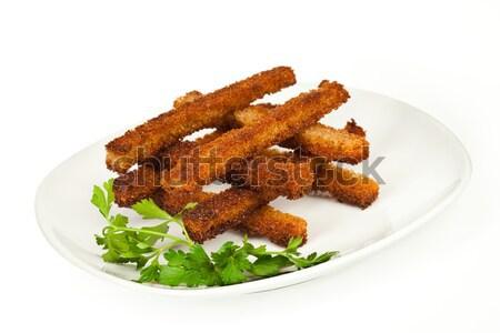 ピース 焼いた ライ麦 パン 白 背景 ストックフォト © cookelma