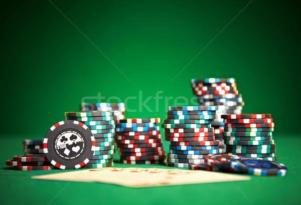 Kártyapakli zöld ruha sport kaszinó póker Stock fotó © cookelma