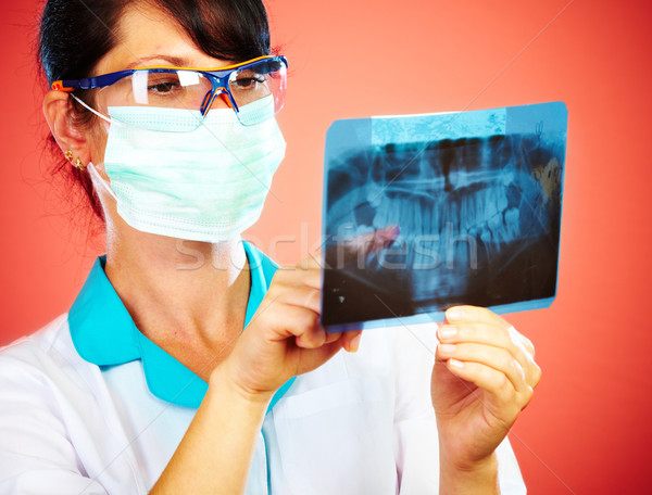 Doktor xray kadın çene el tıbbi Stok fotoğraf © cookelma