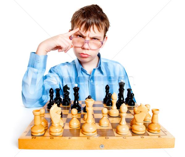 Stréber játék sakk fehér jókedv fiatalság Stock fotó © cookelma
