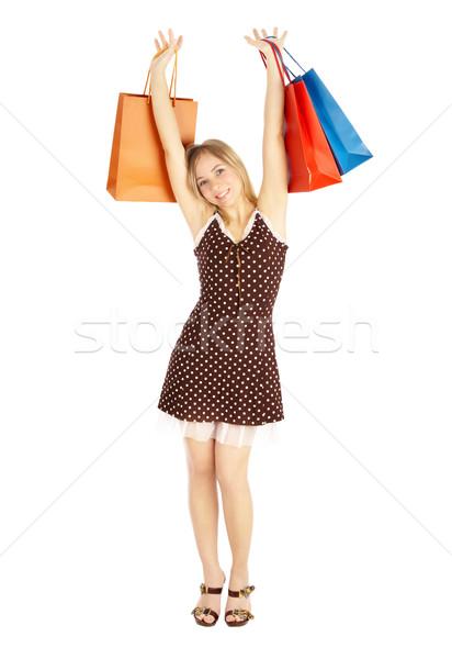 Lányok összehasonlítás vásárlás vásár lány szatyrok Stock fotó © cookelma