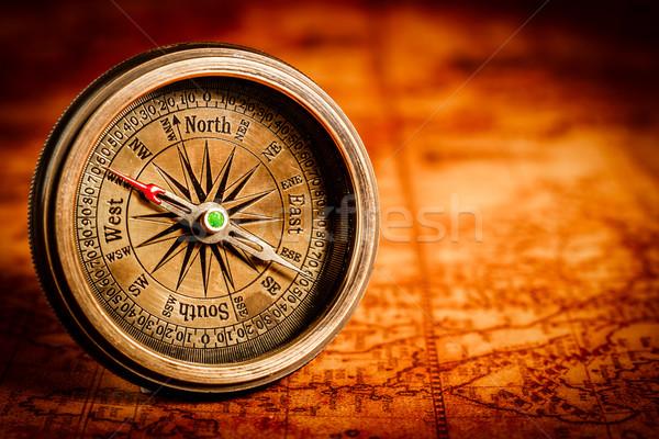 Stock fotó: Klasszikus · iránytű · hazugságok · ősi · világtérkép · csendélet