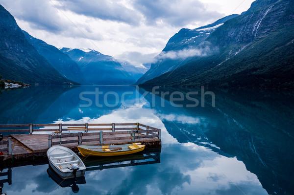 Lago hermosa naturaleza Noruega naturales paisaje Foto stock © cookelma