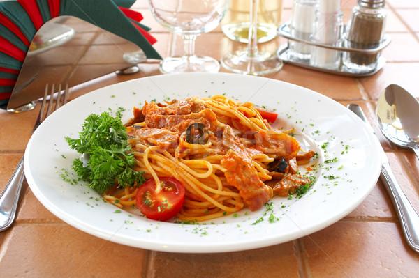 Сток-фото: спагетти · томатном · соусе · таблице · кафе · ресторан · повар