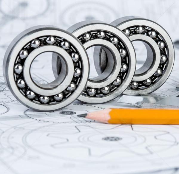 Ball bearings on technical drawing Stock photo © cookelma