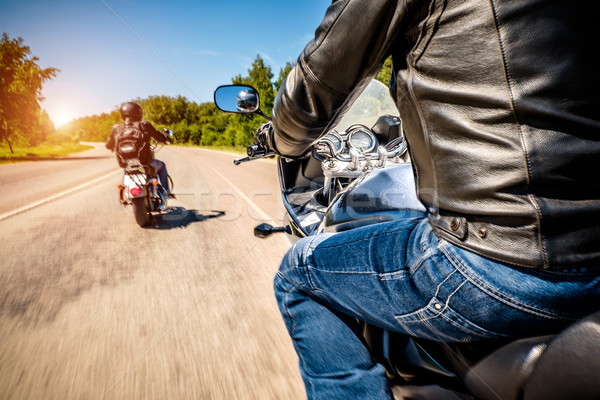 Motorosok kilátás vezetés motorkerékpár aszfalt út Stock fotó © cookelma